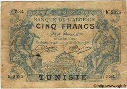 5 Francs TUNISIE  1920 P.01 B+ à TB