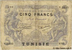 5 Francs TUNISIE  1924 P.01 B+