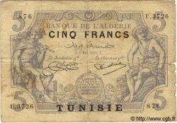 5 Francs TUNISIE  1925 P.01 B+