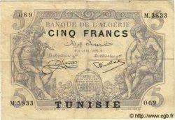 5 Francs TUNISIE  1925 P.01 TB à TTB