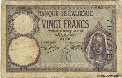 20 Francs TUNISIE  1929 P.06b B+