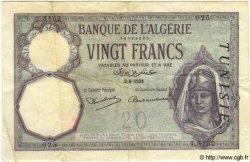 20 Francs TUNISIE  1938 P.06b TTB