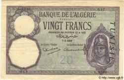 20 Francs TUNISIE  1939 P.06b TTB+