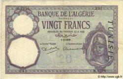 20 Francs TUNISIE  1939 P.06b