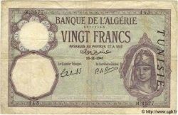 20 Francs TUNISIE  1941 P.06b TB
