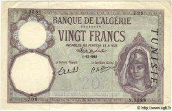 20 Francs TUNISIE  1941 P.06b TTB+