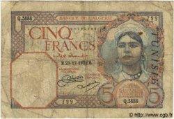 5 Francs TUNISIE  1932 P.08a B