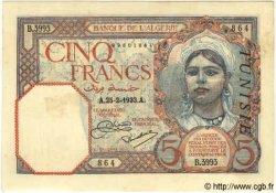 5 Francs TUNISIE  1933 P.08a SUP+