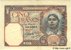 5 Francs TUNISIE  1933 P.08a TTB+