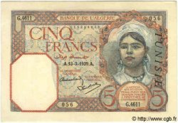 5 Francs TUNISIE  1939 P.08b SPL