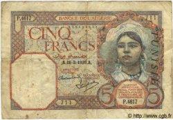 5 Francs TUNISIE  1939 P.08b B+