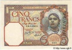 5 Francs TUNISIE  1941 P.08b pr.NEUF