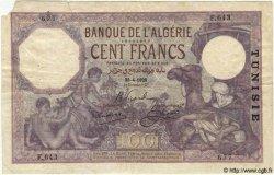 100 Francs TUNISIE  1928 P.10a TB+