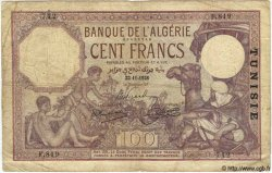 100 Francs TUNISIE  1928 P.10a B+