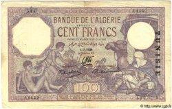 100 Francs TUNISIE  1936 P.10c TB