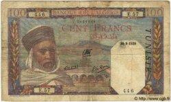 100 Francs TUNISIE  1939 P.13a TB
