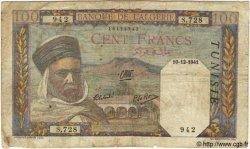 100 Francs TUNISIE  1941 P.13a B+