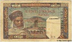100 Francs TUNISIE  1942 P.13b TB