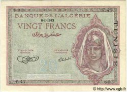 20 Francs TUNISIE  1943 P.17 SUP