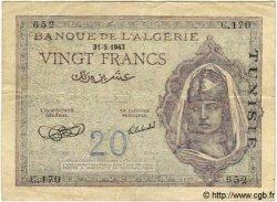 20 Francs TUNISIE  1943 P.17 TB à TTB