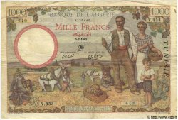 1000 Francs TUNISIE  1942 P.20a TB