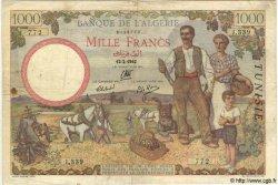 1000 Francs TUNISIE  1942 P.20a TB à TTB