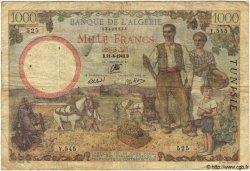 1000 Francs TUNISIE  1942 P.20a B+
