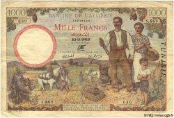 1000 Francs TUNISIE  1942 P.20b TB+