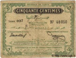 50 Centimes TUNISIE  1918 P.42 TB+