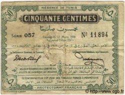 50 Centimes TUNISIE  1919 P.45b TB