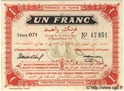 1 Franc TUNISIE  1919 P.46a TTB+