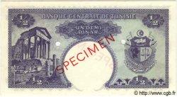 1/2 Dinar TUNISIE  1962 P.57s pr.SPL