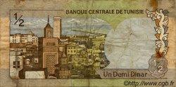 1/2 Dinar TUNISIE  1972 P.66 B+