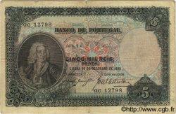 5000 Reis PORTUGAL  1909 P.104 TB