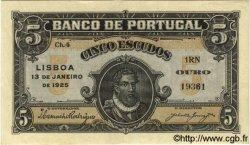 5 Escudos PORTUGAL  1925 P.133 TTB à SUP