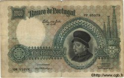 1000 Escudos PORTUGAL  1938 P.152 pr.TB