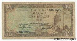 10 Patacas MACAO  1981 P.059c B+