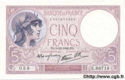 5 Francs VIOLET modifié FRANCE  1940 F.04.16 NEUF