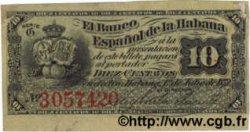 10 Centavos CUBA  1872 P.030a TTB+