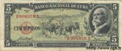5 Pesos CUBA  1958 P.091a TB