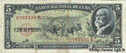 5 Pesos CUBA  1960 P.091c TB