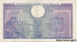 500 Francs - 100 Belgas BELGIQUE  1943 P.124 TB+