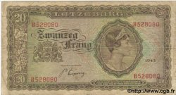 20 Frang LUXEMBOURG  1943 P.42a B+