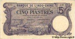 5 Piastres INDOCHINE FRANÇAISE  1915 P.032b pr.SUP