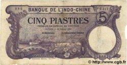 5 Piastres INDOCHINE FRANÇAISE  1920 P.038 B à TB