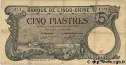 5 Piastres INDOCHINE FRANÇAISE  1920 P.041 TB à TTB