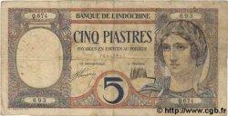 5 Piastres INDOCHINE FRANÇAISE  1931 P.049b TB