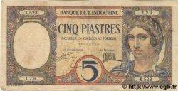 5 Piastres INDOCHINE FRANÇAISE  1931 P.049b TTB