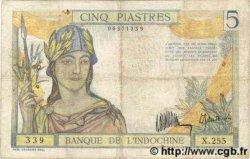 5 Piastres INDOCHINE FRANÇAISE  1932 P.055a TB