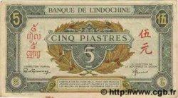 5 Piastres vert / marron INDOCHINE FRANÇAISE  1943 P.061 SUP